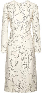 Carven Pintucked Printed Crepe Midi Dress - Ivory