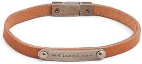 Saint Laurent Metal plaque leather bracelet
