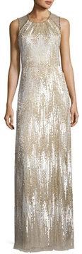 Jenny Packham Sleeveless Chevron Sequined Gown