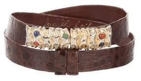 Judith Leiber Crocodile Embellished Belt
