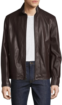 Cole Haan Men's Solid Leather Racer Jacket