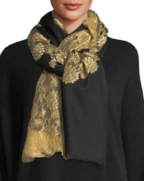 Bindya Pumice Lace-Overlay Evening Stole/Wrap, Black/Gold