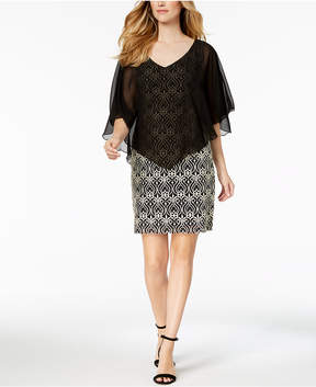 Connected Petite Cape-Overlay Lace Sheath Dress