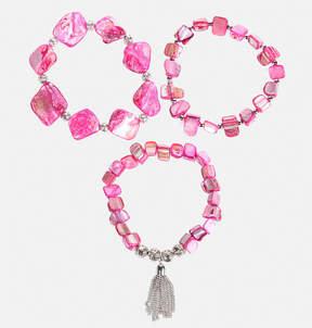 Avenue Pink Shell Stretch Bracelet Set