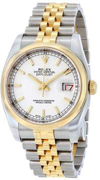 Rolex Datejust 36 White Dial Stainless Steel and 18K Yellow Gold Jubilee Bracelet Automatic Men's Watch