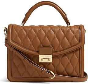 Vera Bradley Cognac Lydia Leather Satchel - COGNAC - STYLE