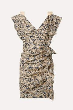 Etoile Isabel Marant Topaz Ruffled Printed Linen Mini Dress - Beige