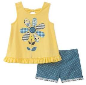 Kids Headquarters Little Girl's Two-Piece Patterned Flower Top and Dotted Denim Shorts Set