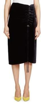 Cédric Charlier Velvet Ruched Skirt