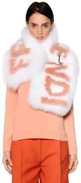 Logo Fox Fur Stole W/ Leather Belt