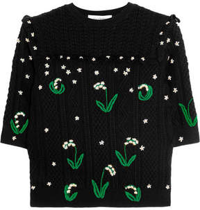 Valentino - Ruffled Embroidered Cable-knit Wool Sweater - Black