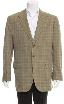 Luciano Barbera Plaid Wool Three-Button Blazer