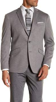 Kenneth Cole Reaction Gray Marled Knit Two Button Notch Lapel Trim Fit Sport Coat