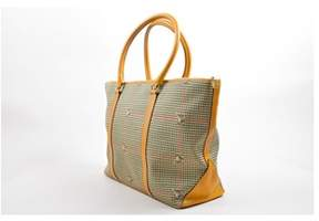 Mark Cross Pre-owned Cream Tan Multicolor Canvas Leather Houndstooth Print Tote Bag.