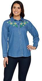 Bob Mackie Bob Mackie's Floral Embroidered Classic Shirt