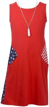 Bonnie Jean Girls 7-16 Stars & Stripes Americana Shift Dress with Necklace