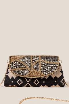 francesca's Nina Beaded Clutch - Black/White