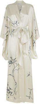 Carine Gilson Floral Print Long Silk Kimono