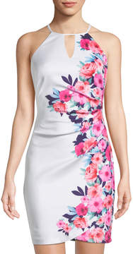 GUESS Floral Halter Bodycon Dress