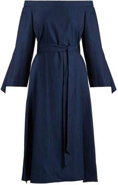 Tibi Off-the-shoulder tie-cuff denim dress