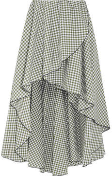 Caroline Constas Adelle Ruffled Gingham Cotton-poplin Skirt - Green