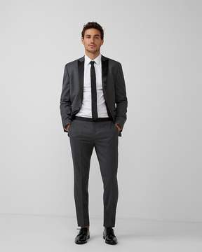 Express Slim Gray Flannel Wool-Blend Tuxedo Pant