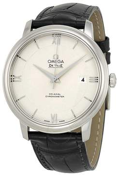Omega De Ville Prestige Silver Dial Black Leather Men's Watch