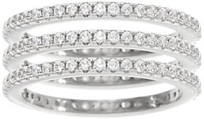 Diamonique As Is DMQ Set of 3 Eternity Band Rings, Sterling or Tri-Color