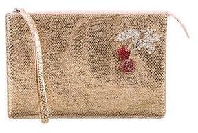 No. 21 Metallic Cherry-Embellished Clutch