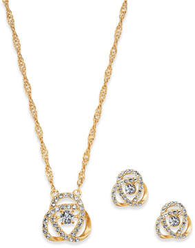 Charter Club Gold-Tone Pave Knot Pendant Necklace & Stud Earrings Set, Created for Macy's