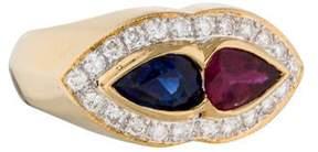 Ring 18K Sapphire, Ruby & Diamond Band