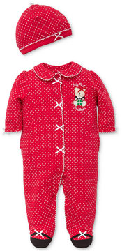 Little Me 2-Pc. Dot-Print Hat & Footed Coverall Set, Baby Girls (0-24 Months)