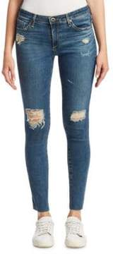 AG Jeans Ankle Distressed Raw-Hem Legging Jeans