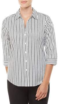 Allison Daley 3/4 Sleeve Vertical Dot Print Button Front Shirt