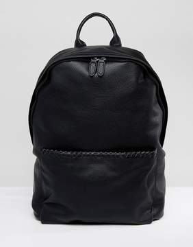 Asos Backpack In Black Faux Leather With Whip Stitch
