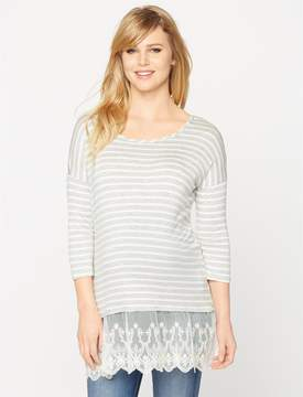 A Pea in the Pod Lace Trim High-low Maternity Tee