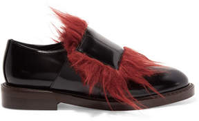 Marni Goat Hair-trimmed Leather Loafers - Black