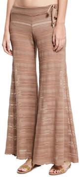 Letarte Crochet Lace Flare Beach Pants, Brown