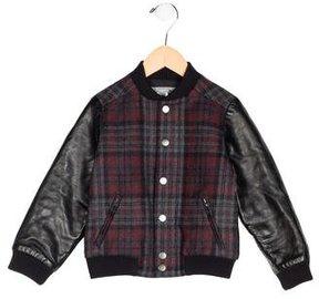 Bonpoint Boys' Leather Paneled Plaid Jacket