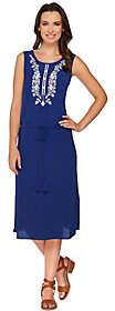 C. Wonder AsIs Embroidered Midi Dress w/ Drawstring Waist