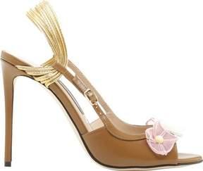 Zac Posen Clarissa Organza Flower Leather Heeled Slingback (Women's)
