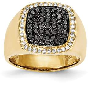 Ice 14k Black & White Diamond Mens Ring