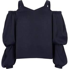 River Island Girls navy long sleeve cold shoulder top