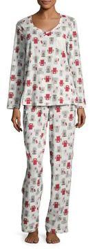 Carole Hochman Christmas Door Print Cotton Pajama Set
