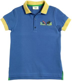 Fendi Monster Stretch Cotton Piqué Polo Shirt