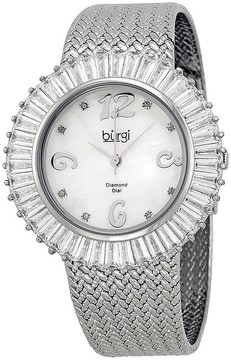Burgi Mother Of Pearl Dial Silver-Tone Brass Mesh Ladies