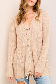 Entro Lace-Up Front Sweater