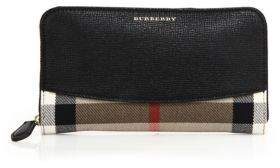 Burberry Elmore Leather & House Check Zip Wallet - BLACK - STYLE
