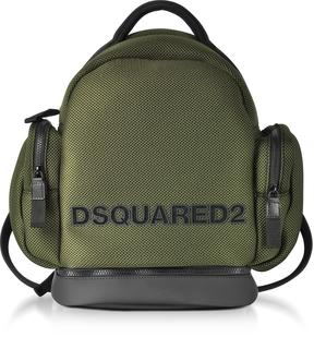 DSQUARED2 Khaki Mesh Fabric Signature Men's Backpack w/Black Accents