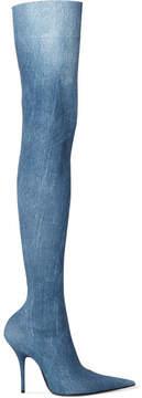 Balenciaga Knife Printed Spandex Thigh Boots - Blue